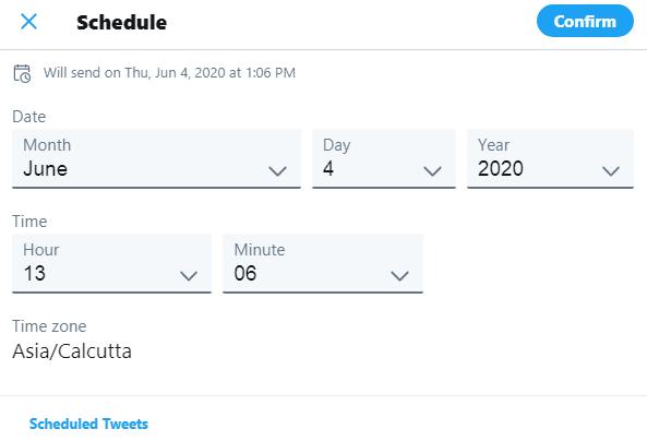 schedule a tweet calendar - social singam